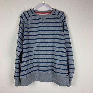 Boden | Gray Blue Striped Crew Neck Sweater XXL